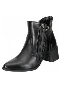 Bota Dududias10 Ankle Boot Tirinhas Preta