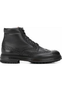 Santoni Ankle Boot Perfurada - Preto