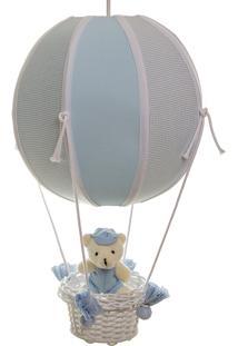 Lustre Balão Bolinha Urso Quarto Bebê Infantil Menino Potinho De Mel Azul