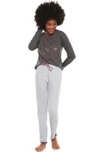 Pijama Censato Listrado Cinza/Branco