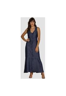 Vestido Jeans Zayon Longuete Azul Escuro