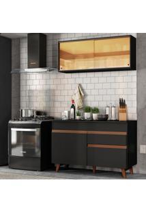 Cozinha Compacta Madesa Reims 120001 Com Armário E Balcão - Preto