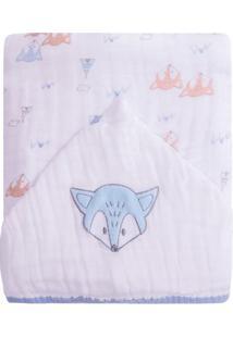 Toalhã£O De Banho Soft Premium Com Capuz Raposas- Branco Papi