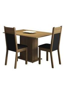 Conjunto Sala De Jantar Madesa Gabi Mesa Tampo De Madeira Com 2 Cadeiras Rustic/Preto/Sintético Preto Rustic/Preto/Sintético Preto