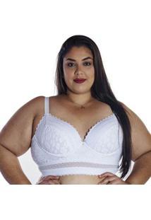 Sutiã Plus Size Corpete Linha Única Nayane Rodrigues - Feminino-Branco