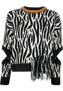 Pinko Suéter Com Padronagem De Zebra E Franjas - Preto