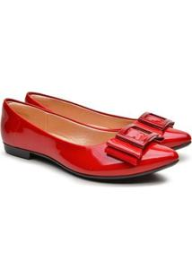 Sapatilha Feminina Verniz Bico Fino Laço Fashion Conforto - Feminino-Vermelho
