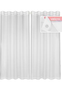 Cortina Lava Fácil Voil Duo 2,80X1,80M – Marka Têxtil - Branco