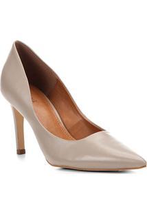 a8f8acb3ce ... Scarpin Couro Shoestock Salto Alto Bico Fino - Feminino-Cinza