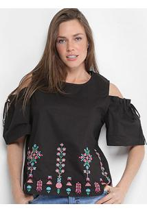 Blusa Open Shoulder Lily Fashion Com Bordado Feminina - Feminino-Preto