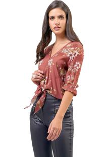 Blusa Mx Fashion Estampada Dory Marrom