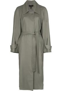 Low Classic Collared Trench Coat - Verde