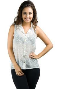 Camisa Banna Hanna Regata Chiffon - Feminino-Branco+Cinza