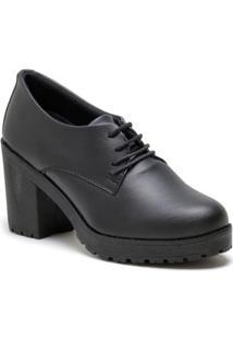 Bota Navit Shoes Tratorada Cano Baixo Feminina - Feminino-Preto