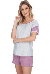 Pijama Curto Inspirate Cassis Multicolorido Branco