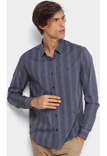 Camisa Calvin Klein Slim Fit Listras Masculina - Masculino-Marinho