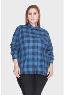 Camisa Xadrez Bold 100% Algodão Plus Size -54 Feminina - Feminino-Marinho