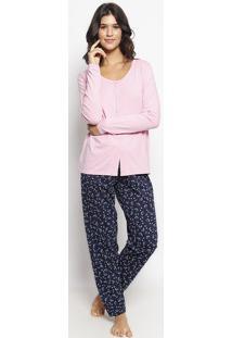 Pijama Floral Mescla - Rosa Claro & Azul Marinhomalwee