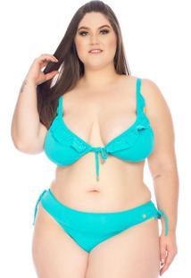 Biquini Cortininha Plus Size Azul
