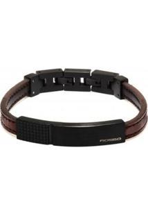 Bracelete Rosso De Couro Marrom Com Placa Black Linha Coffee - Unissex-Marrom