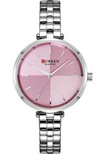 Relógio Curren Analógico C9043L Prata E Rosa