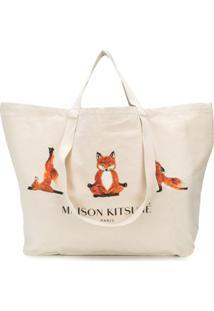 Maison Kitsuné Xxl Yoga Foxes Tote - Neutro