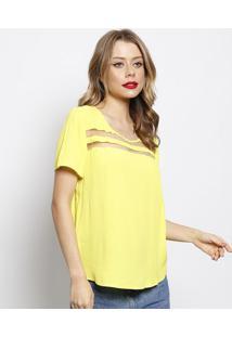Blusa Texturizada Com Tule- Amarelo Claro- Forumforum
