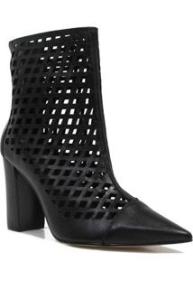 Bota Zariff Shoes Ankle Boot Vazado Feminina - Feminino-Preto