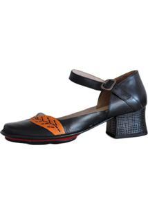 Sapato Boneca Salto Grosso Quadrado Estilo Retrô Vintage Preto