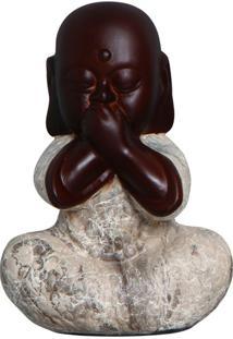 Escultura Decorativa Buda Não Falo Marrom Mesclado