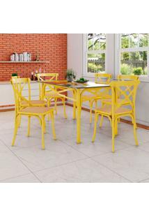 Conjunto De Mesa De Jantar Com 6 Cadeiras E Tampo De Vidro Katrina Amarelo