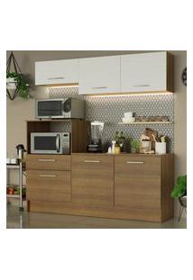 Cozinha Compacta Madesa Onix 180001 Com Armário E Balcáo Marrom