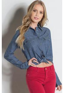 073412e81e ... Camisa Sawary Jeans Com Bolsos Frontais