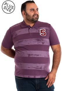Camisa Polo Konciny Plus Size Roxo
