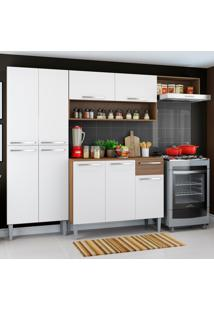 Cozinha Compacta Madesa Emilly Top Com Armário E Balcão Marrom
