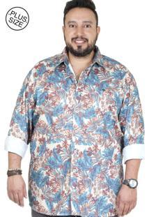 Camisa Plus Size Bigshirts Manga Longa Estamp Retro