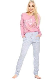 Pijama Cor Com Amor Sleep Rosa/Azul