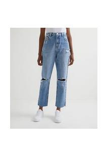 Calça Cropped Reta Jeans Com Puídos E Fenda Na Barra