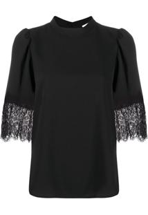 See By Chloé Short-Sleeved Lace Cuff Blouse - Preto