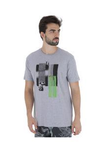 Camiseta Volcom Pixel Fade - Masculina - Cinza