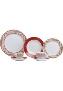 Aparelho De Jantar 42 Peças De Porcelana Super White Colorado Mail Box Branco/Vermelho
