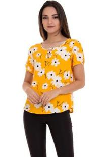 Blusa Crepe Estampada Manga Aberta Feminina - Feminino-Amarelo