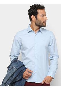 Camisa Manga Longa Ellus Tricoline Slim Masculina - Masculino-Azul Claro