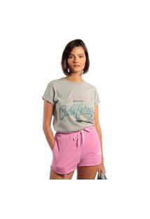 Camiseta Feminina Mirat Surfing In Malibu Mescla
