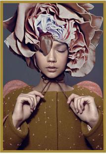 Quadro Decorativo Abstrato- Dourado & Cinza Escuro- Arte Prã³Pria