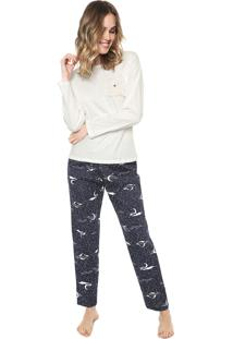Pijama Pzama Bolso Pelo Off-White/Azul-Marinho