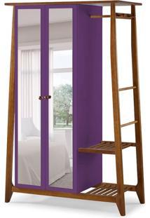 Guarda-Roupa Solteiro Stoka Com Espelho 2 Pt Nogal E Roxo