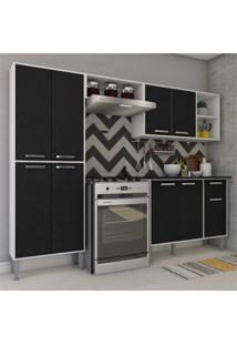 Cozinha Completa Compacta Com Armã¡Rio E Balcã£O Com Tampo Coimbra Multimã³Veis Preto/Branco - Incolor - Dafiti