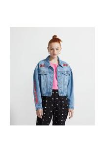 Jaqueta Cropped Em Jeans Com Manga Bufante E Estampa Hello Kitty | Hello Kitty | Azul | P