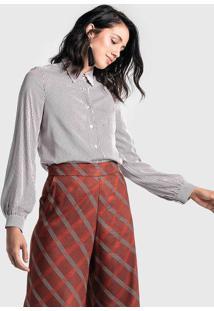 Camisa Feminina Com Botão Listrada